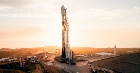 A Falcon 9 rocket at sunset - Courtesy of SpaceX
